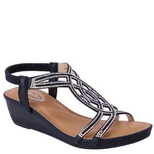 Italina Rhinestone Embellished Black Wedge Sandal